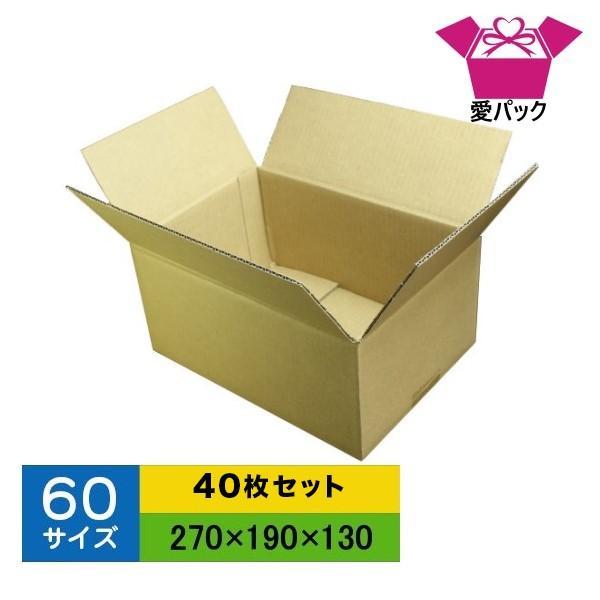 ダンボール箱 60サイズ B5 40枚 無地 段ボール 梱包用 日本製 薄型 ネットショップ 商品発送用 クロネコヤマト 宅急便 ゆうパック メルカリ