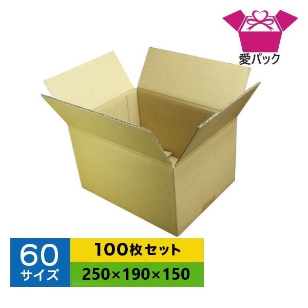 ダンボール箱 60サイズ 100枚 無地 段ボール 梱包用 日本製 薄型 ネットショップ 商品発送用 クロネコヤマト 宅急便 ゆうパック メルカリ