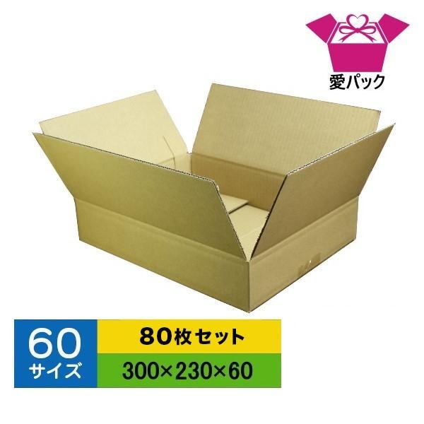 ダンボール箱 60サイズ 80枚 無地 段ボール 梱包用 日本製 薄型 ネットショップ 商品発送用 クロネコヤマト 宅急便 ゆうパック メルカリ