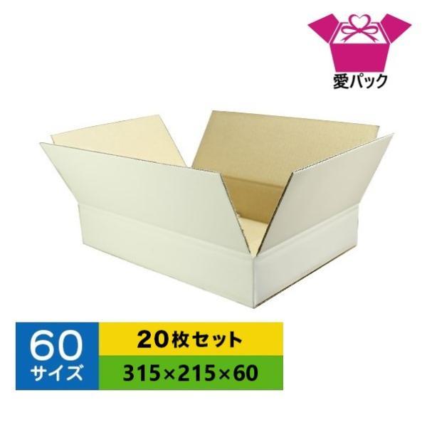 ダンボール箱 60サイズ 白 A4 20枚 無地 段ボール 梱包用 日本製 薄型 ネットショップ 商品発送用 クロネコヤマト 宅急便 ゆうパック メルカリ