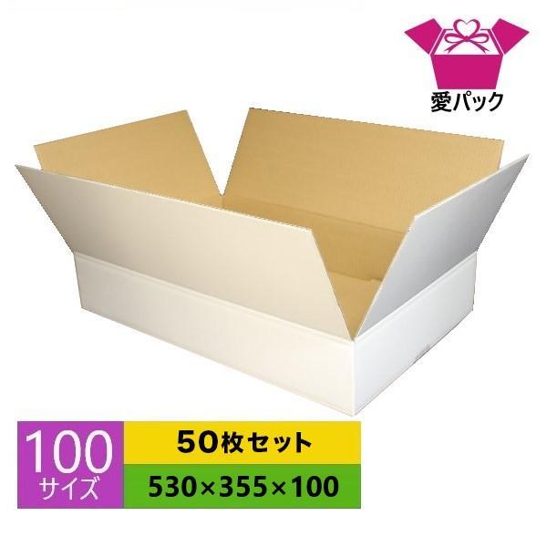 ダンボール箱 段ボール 100サイズ 白 50枚セット 日本製 無地 薄型 ホワイト 白ダンボール クロネコヤマト 宅急便 ゆうパック メルカリ 梱包