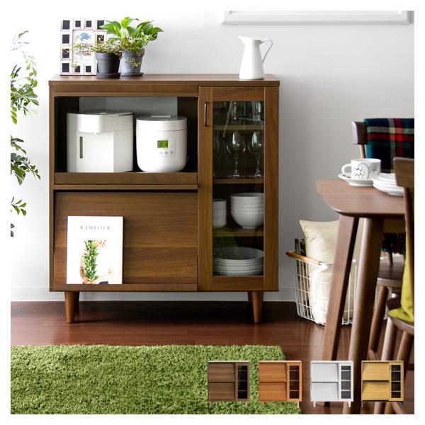 レンジ台 食器棚 おしゃれ キッチン 収納 レンジラック レンジボード キッチンボード 幅90cm 木製 北欧 家具 カップボード キッチンカウンター ロータイプ