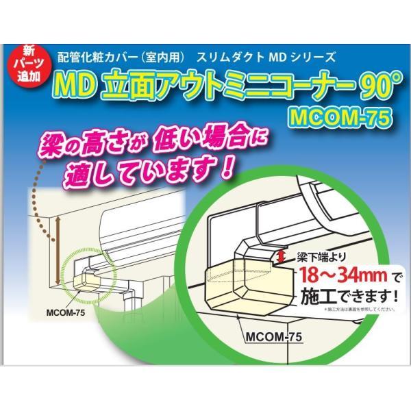 イナバ MD立面アウトミニコーナー90° MCOM-75(ホワイト)|aircon-station|03