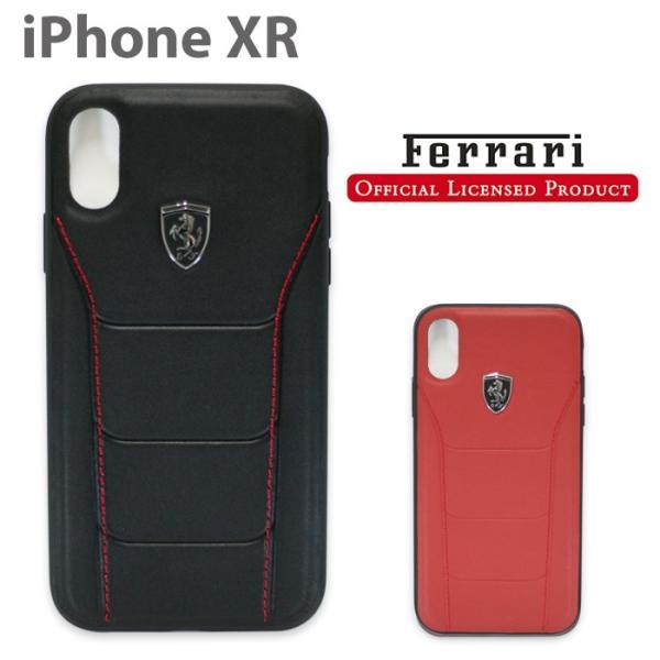 フェラーリ iPhoneXR ハードケース 公式ライセンス品 アイフォンケース ブランド メンズ カバー 本革 レザー ブラック レッド|airs