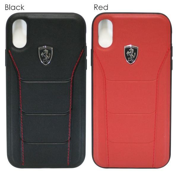 フェラーリ iPhone XS Max ハードケース 公式ライセンス品 アイフォンケース ブランド メンズ カバー 本革 レザー ブラック レッド|airs|02