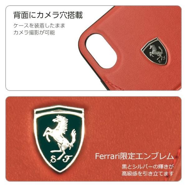フェラーリ iPhone XS Max ハードケース 公式ライセンス品 アイフォンケース ブランド メンズ カバー 本革 レザー ブラック レッド|airs|04