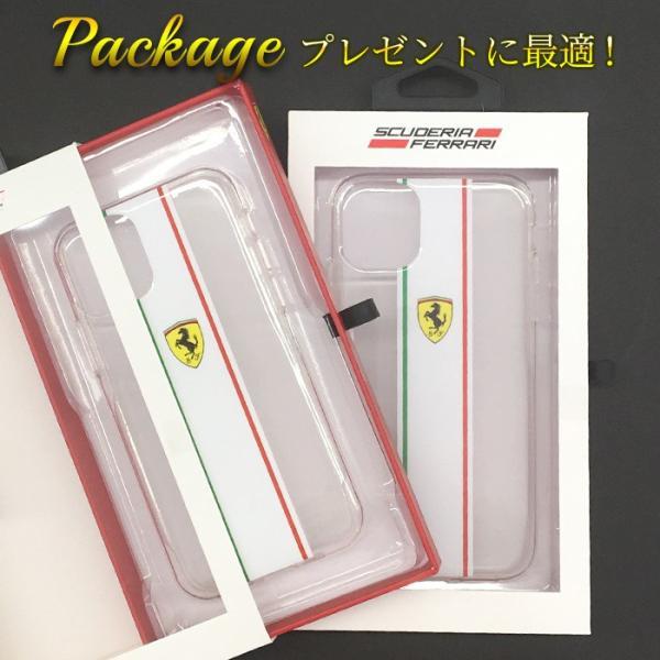 Ferrari フェラーリ 公式ライセンス品 iPhone11Pro iPhone11 白ライン クリア バックカバー アイフォン11Pro アイフォン11|airs|04