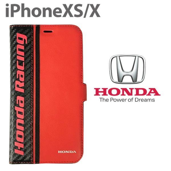 ホンダ Honda 公式ライセンス品 iPhoneXS iPhoneX ケース ブラック レッド 手帳型ケース アイフォンXS アイフォンX iPhoneケース カバー リアルレザー|airs