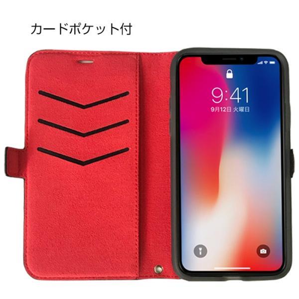 ホンダ Honda 公式ライセンス品 iPhoneXS iPhoneX ケース ブラック レッド 手帳型ケース アイフォンXS アイフォンX iPhoneケース カバー リアルレザー|airs|02