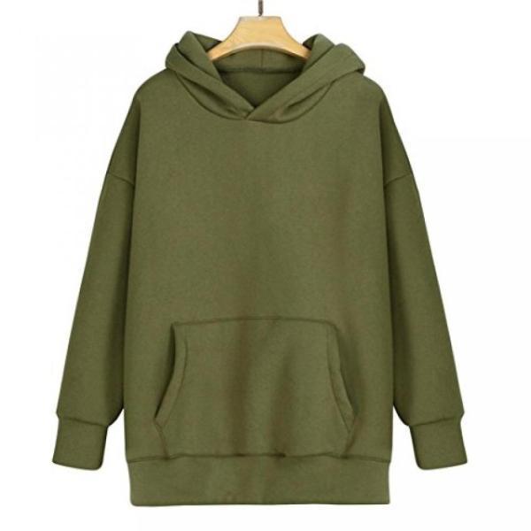 Women's Clothing Women Teens Solid Long Sleeve Sweatshirt Long Loose Pullover Top Hoodie Dress