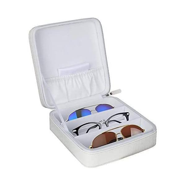 メガネサングラストラベルケース収納おしゃれコレクションレザー旅行用時計Glasses(ホワイトS)