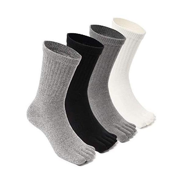 メンズ五本指靴下冬厚手防寒消臭吸汗天然高級綿使用カジュアルスポーツアウトドアワークソックスカラー4色4足セット