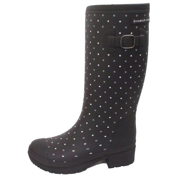 子供 女の子 長靴 冬用 冬物 防寒 ジュニア レインブーツ ヒロミチナカノ 145 ブラックドット N