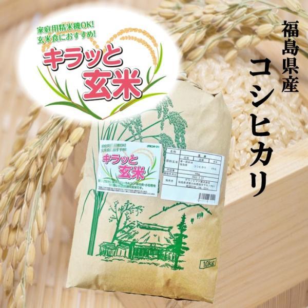 コシヒカリ お米 10kg キラッと玄米 福島県 令和二年産 調整済玄米 送料無料