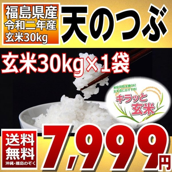 天のつぶ お米 30kg キラッと玄米 福島県産 令和二年産 調製済玄米 送料無料 通常発送