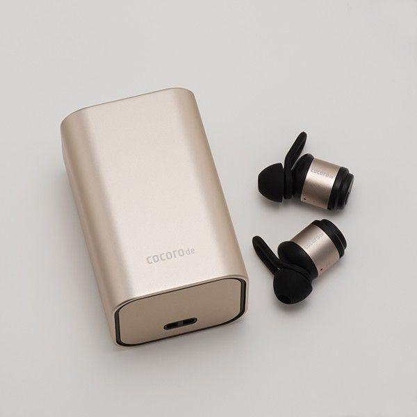 完全ワイヤレスイヤホン cocorode ココロデ  AAC対応 Bluetooth 4.2 メタルボディ マイク 内蔵 ハンズフリー通話 防滴 トゥルーワイヤレス イヤホン  (Gold/金)|ajinomisaki|02