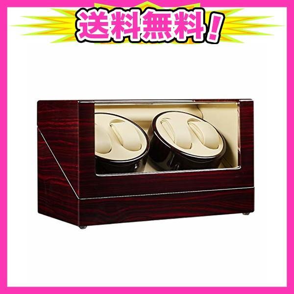 JQUEENワインディングマシーンウォッチワインダー4本巻き日本製マブチモーター木製鏡面仕上げ4つ回転モード静音設計