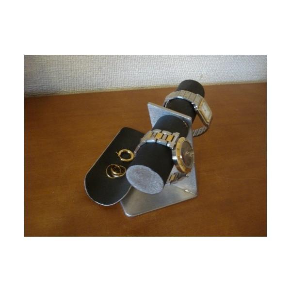 2本掛けブラックトレイ付きななめ支柱腕時計スタンド バックトレイバージョン