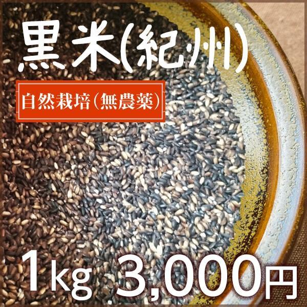 黒米(古代米 紀州産) 自然栽培 和歌山県産 1kg|ak0874