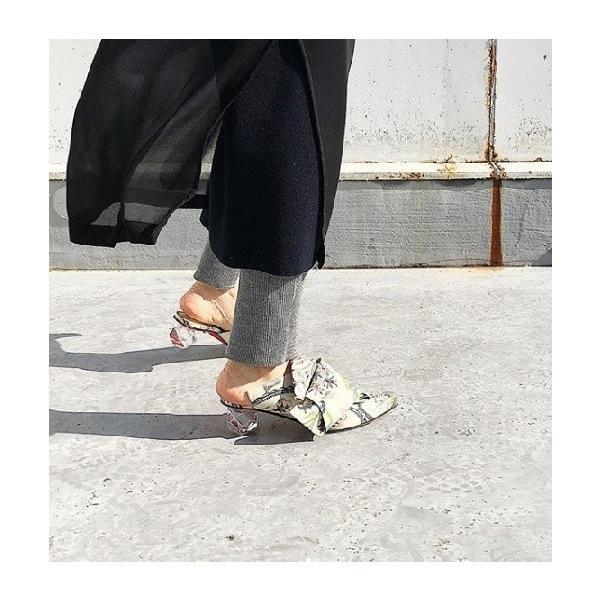2019春夏新作 MANA マナ ミュール ビッグリボン クリスタルヒール 本革 靴 88mn595016bl