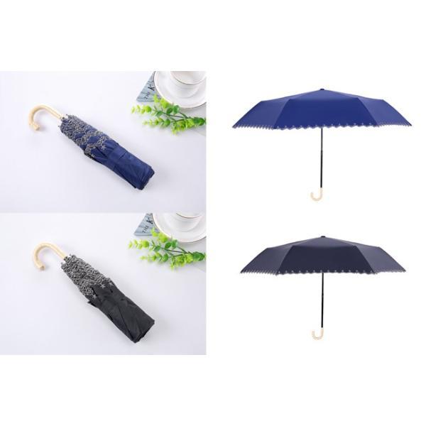 ミニ傘 日傘 オシャレ レディース 超軽量170g スカラップ 100% 完全遮光 折りたたみ傘 晴雨兼用 UVカット 折り畳み 日傘 紫外線対策 耐風傘 母の日 雨傘 かさ akalui 08