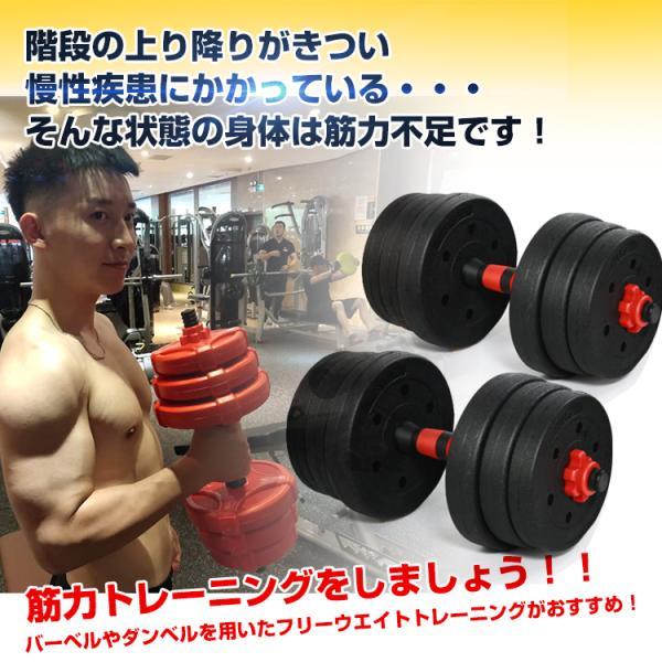 ダンベルセット 20kg バーベル 可変式 トレーニング 鉄アレイ 筋トレ スポーツ エクササイズ de072|akaneashop|02