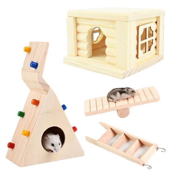 ハムスターハウス木製家小動物おもちゃ木回し車トンネル階段エサ入れ陶器ハムスターハウス小屋飼育ケージ内装セット
