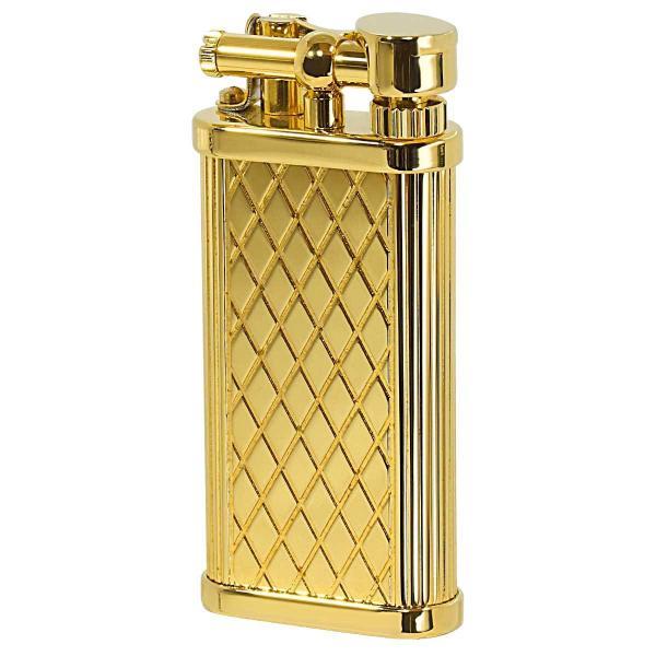 DUNHILL ダンヒル フリントガスライター ユニーク・ポケット シガレット用 Gold Plate Crosspatch Pattern ULA13013 適合リフィル(ガス or オイル)1本無料進呈