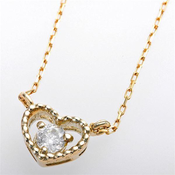 K10イエローゴールド 上質 天然ダイヤモンドペンダント ネックレス アンティーク調ハートモチーフ ダイヤ0.08ct 5☆大好評 ダイヤモンド