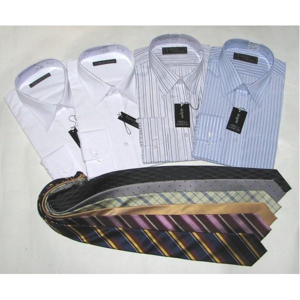 メンズビジネス10点福袋 格安激安 ワイシャツ4枚 ネクタイ6点 1週間コーディネート メンズシャツ 10点お得セット Lサイズ 贈答品