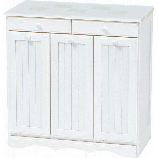 ダストボックス 木製おしゃれゴミ箱 3分別 15Lペール3個 キャスター付き 海外並行輸入正規品 ゴミ箱 完成品 白 与え ホワイト