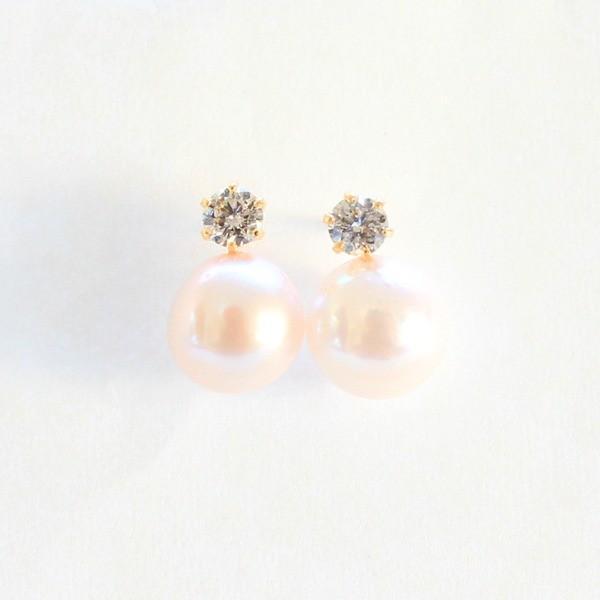 18金 7mmあこや真珠 通販 OUTLET SALE 0.2ct 天然ダイヤモンドピアス パールピアス ダイヤモンド