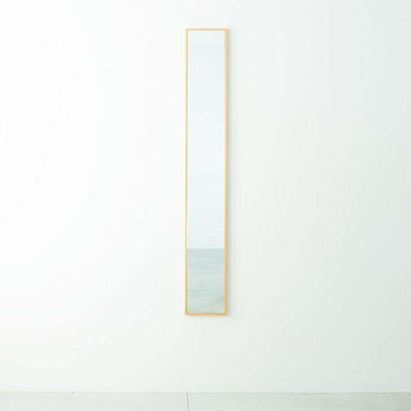 本日の目玉 細枠ウォールミラー 幅22cm 倉庫 ナチュラル 天然木 姿見鏡 スリム 高級感 壁掛け 完成品 日本製 NK5 飛散防止加工 北欧風 木製