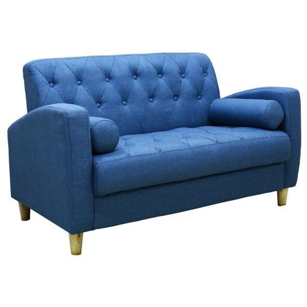 ソファー 2人掛け 春の新作続々 好評 ファブリック地 座面下収納 クッション 青 ブルー 北欧風 肘付き