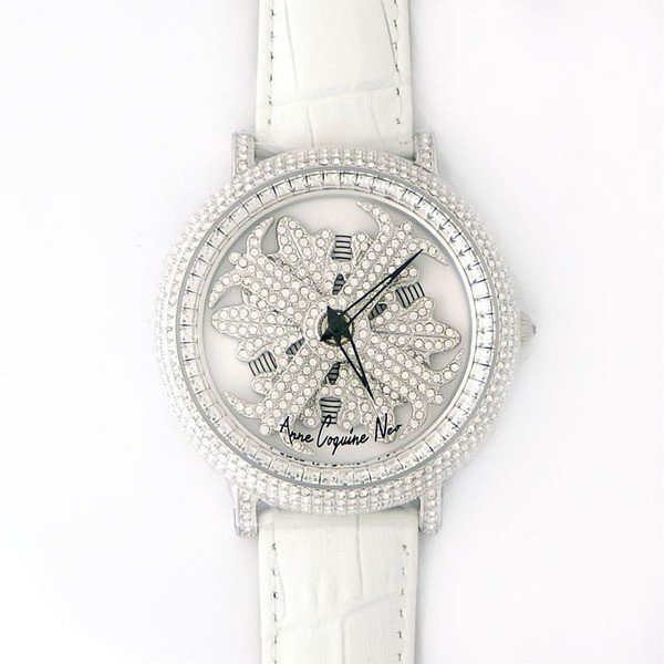 ポイント3倍 アンコキーヌ ネオ 45mm バイカラー ミニクロス シルバーベゼル インナーベゼルクリアー ホワイトベルト アルバ 正規品(腕時計・グルグル時計)