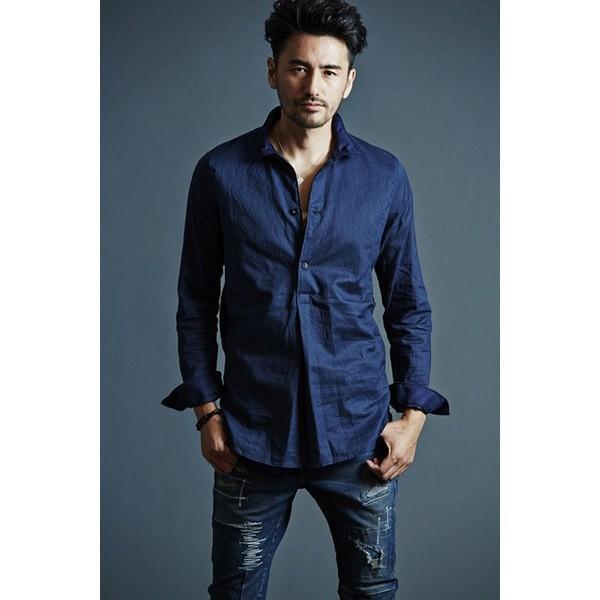 <title>直送商品 VADEL swedish pullover shirts NAVY サイズ44 メンズシャツ</title>