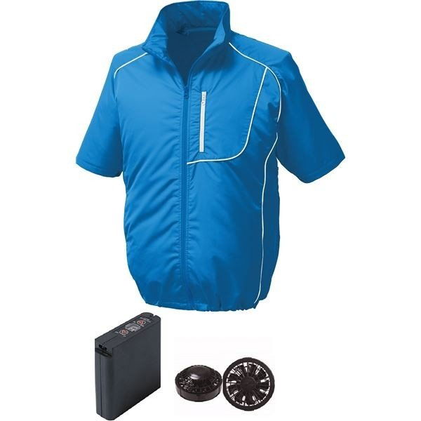 半袖 空調服 作業着 ファンカラー:ブラック 大容量バッテリー付 LL 未使用品 供え ウエアカラー:ブルー×ホワイト ポリエステル