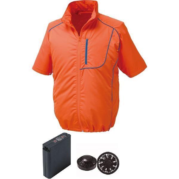 半袖 空調服 作業着 ファンカラー:ブラック 新生活 毎日がバーゲンセール M ウエアカラー:オレンジ×ネイビー ポリエステル 大容量バッテリー付
