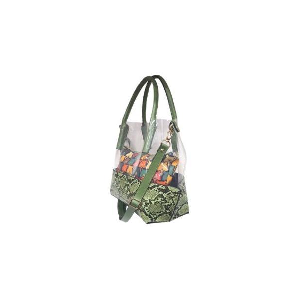 レディースハンドバッグ | ポーチのプリントが可愛い スネーク柄クリアトートバッグチェリーピンク