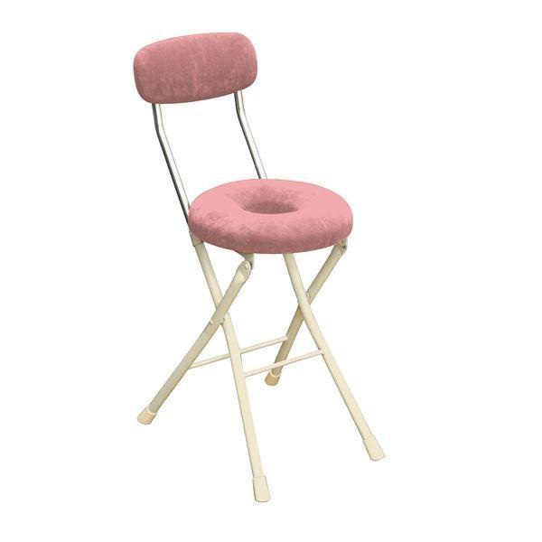 円座 折りたたみ椅子 4脚セット ピンク×ミルキーホワイト 幅33cm 折りたたみチェア [宅送] 日本製 2020 新作 スチール
