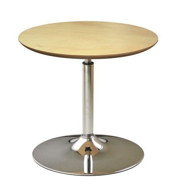 回転 公式 丸テーブル ナチュラル×クロームメッキ 幅60cm 日本製 スチールパイプ 情熱セール 耐荷重30kg 昇降式 リフティングテーブル 木製