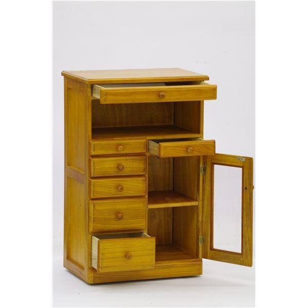 収納家具 | マルチFAXラックリビングチェスト (シングル) 幅48cm 木製 扉部分:アクリル製 隠しキャスター付 ブラウン (完成品)