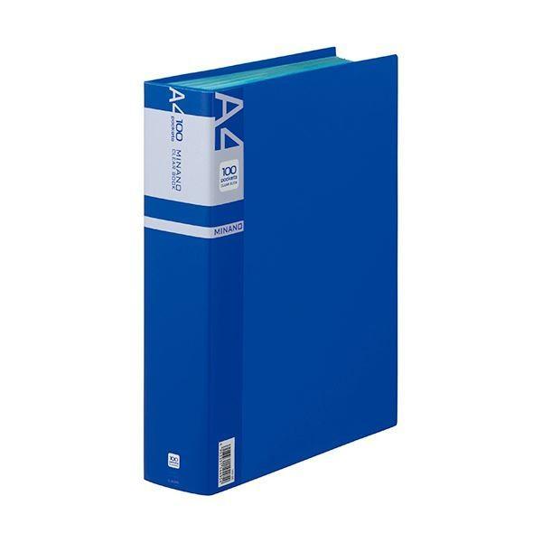 ライオン事務器 クリアーブックMINANO ミナノ A4タテ 定価の67%OFF 100ポケット ×10 背幅62mm 1冊 CR100M 春の新作続々 ブルー