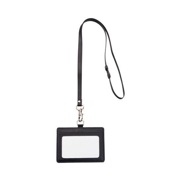 <title>TANOSEE 合皮製ネームカードホルダー ヨコ型 ストラップ付 ブラック 1個 大好評です ×30</title>