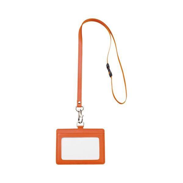 <title>TANOSEE 合皮製ネームカードホルダー 注目ブランド ヨコ型 ストラップ付 オレンジ 1個 ×30</title>