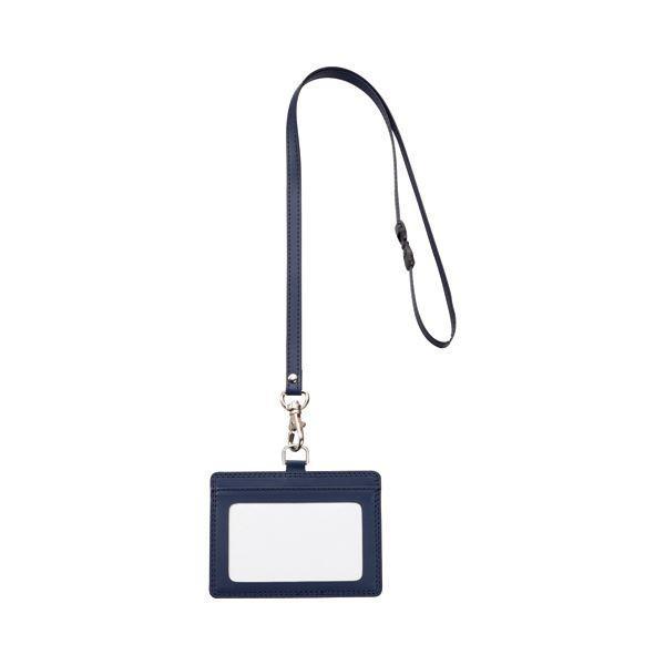 TANOSEE 合皮製ネームカードホルダー 送料無料カード決済可能 ヨコ型 ストラップ付 ×30 1個 35%OFF ブルー