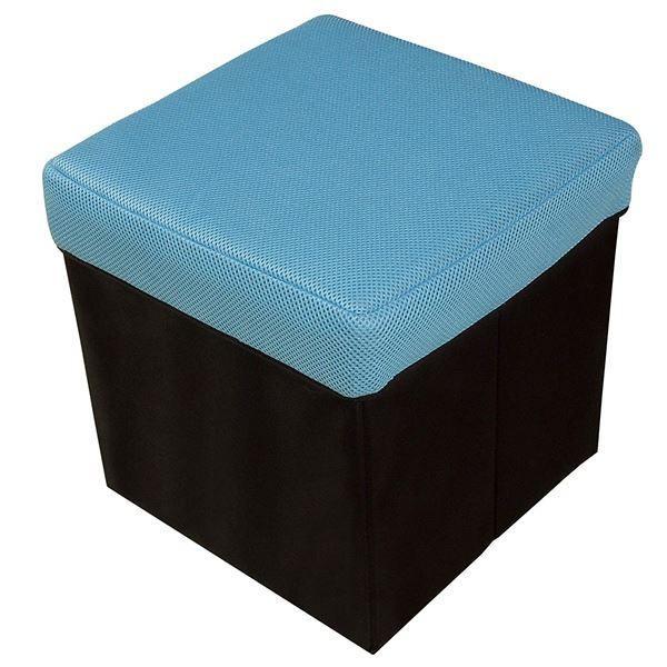 座れる ●日本正規品● 収納ボックス スツール ブルー 幅31cm 正方形 折りたたみ ×20個セット 収納用品 オットマン 超特価 耐荷重100kg