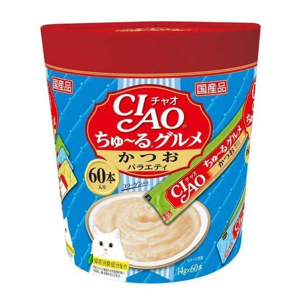 CIAO ちゅ〜る グルメ かつおバラエティ 現品 14g×60本 ペット用品 ×8 いよいよ人気ブランド キャットフード 猫フード