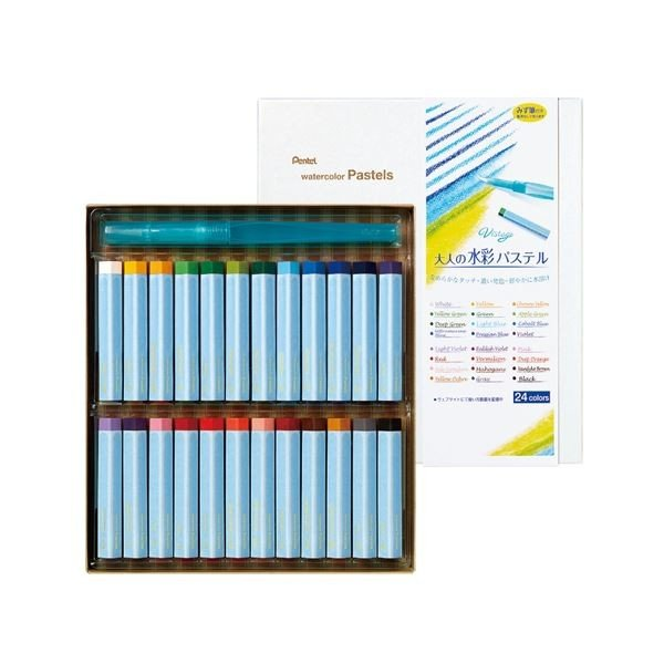ぺんてる 2020モデル 大人の水彩パステル 内祝い 24色 ×5 みず筆付き