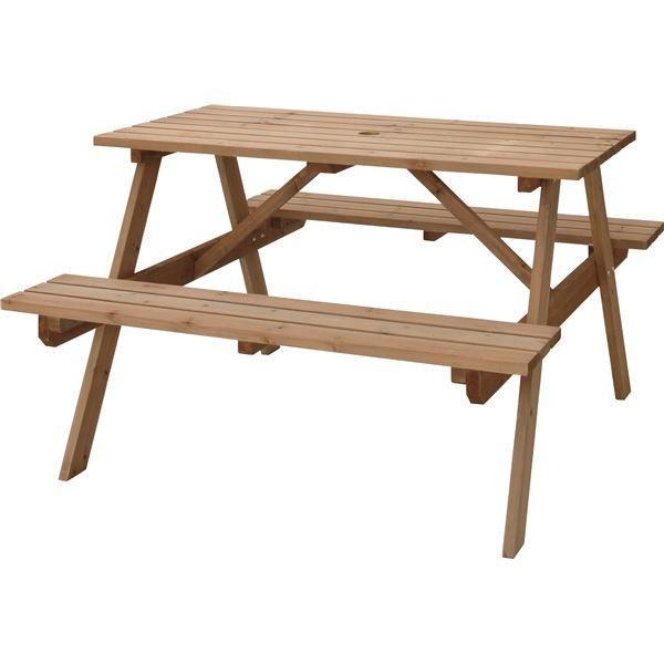 屋外用 定番の人気シリーズPOINT ポイント 入荷 テーブル ベンチ ブラウン 幅120cm×奥行135cm×高さ75.5cm×座面高45cm パラソル可 組立品 2020新作 ファニチャーセット レジャー 木製